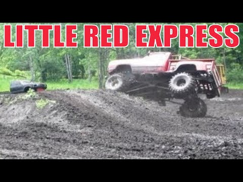 Dodge attempts recovery over mud hill at Perkins Bog