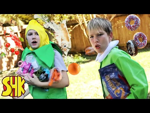 Food Fight Challenge! SuperHeroKids Funny Family Videos Compilation
