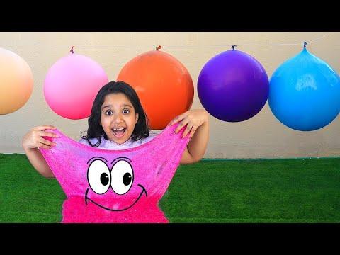 शफ़ा ने ग़ुब्बारा स्लाइम मुक़ाबला किया।
