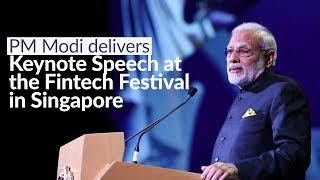 सिंगापुर में फिनटेक महोत्सव को संबोधित करते हुए प्रधानमंत्री मोदी।