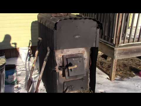 My Home Built Outside Wood Burner Hot Air Furnace