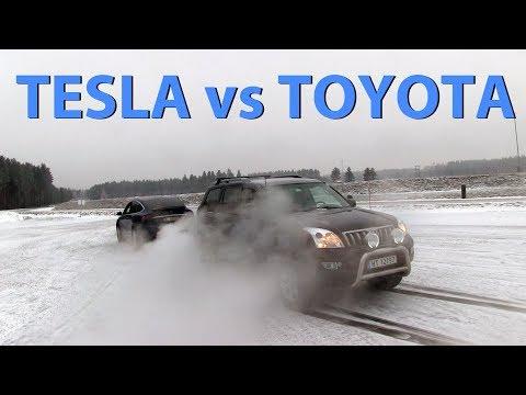 Köydenvetoa: Tesla Model X ja Toyota Land Cruiser