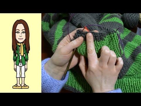 Raglan von oben Pullover stricken mit Rund-Ausschnitt u Streifen (Teil 8 von 8)