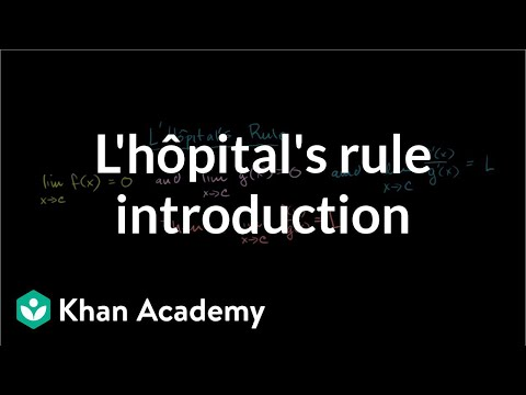 Introduction to L'Hopital's Rule