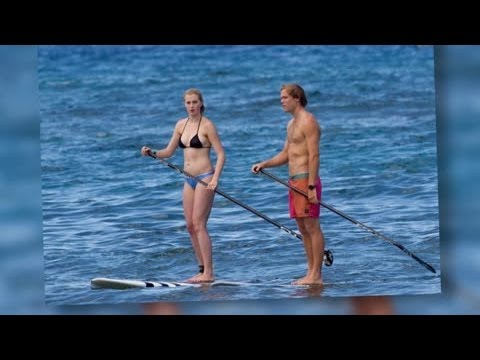 Bikini-Clad Ireland Balwin Paddle Boards With Boyfriend Slater Trout in Hawaii - Splash News