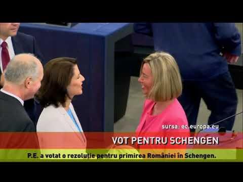 P.E. a votat o rezoluţie pentru primirea României în Schengen