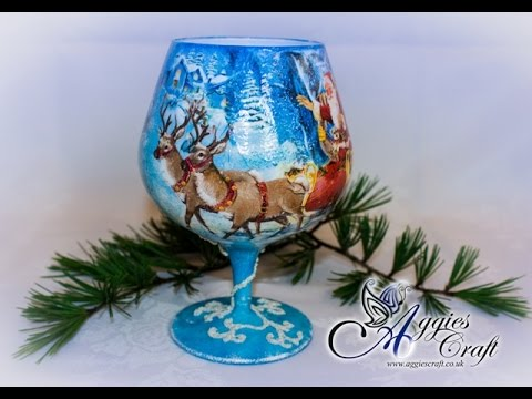 decoupage tutorial - bicchiere natalizio