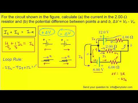 For the circuit shown in the figure, calculate (a) the current in the 2.00-Ω resistor and (b) the po