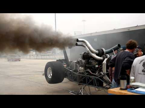 Triple turbo diesel warms up before a race