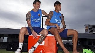 First training session for Mascherano, Messi, Alves and Neymar Jr, neymar, neymar Barcelona,  Barcelona, chung ket cup c1, Barcelona juventus