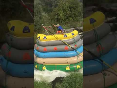 Guy Goes Rafting On A 6 Raft Stack