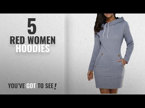 Top 10 Red Women Hoodies [2018]: Lorsou LANISEN Womens Plus Size Hoodies Long Sleeve Cotton Hooded