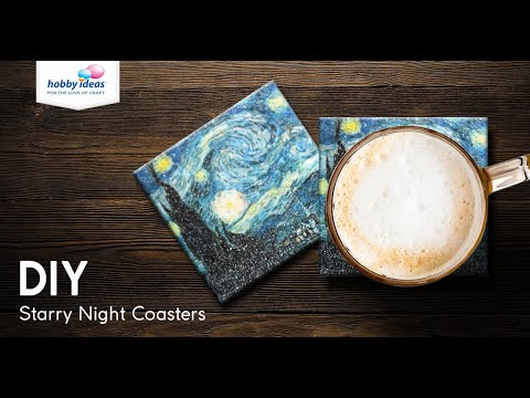 DIY Starry Night Coasters with Glitter Decoupage