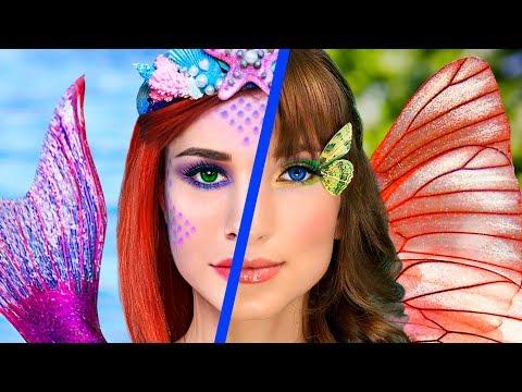 8 DIY Meerjungfrau vs Schmetterling Make-Up! Make-Up Challenge!