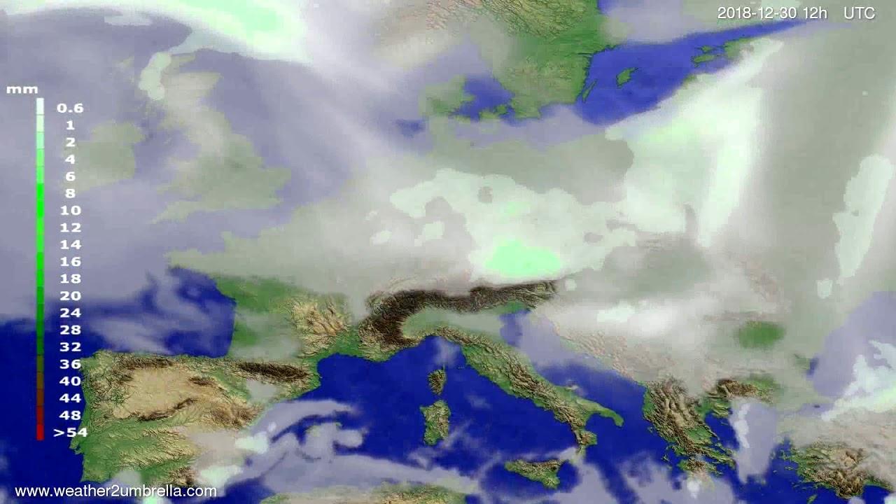 Precipitation forecast Europe 2018-12-26