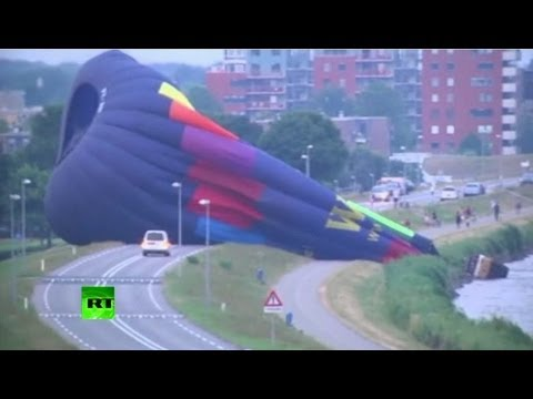 Hot air balloon makes crash landing on Netherlands highway