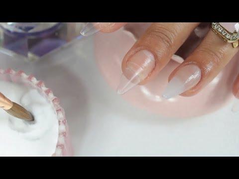 como hacer uñas acrilicas mas rápido con típs para principiantes diseño lujoso y romántico