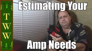Tips for estimating the amount of amps you'll use while out boondocking.  Knowing how many amps you'll be using is important for knowing how large of a battery bank you'll need (it's also nice to know where all those amps go!). Amps = watts/volts 12 volt RV devices:                                       Watts                    AmpsLights           3-18        .25-1.5Water Pump   48-60   4-5Heater Fan   60-84   5-7USB/Phone Charger 6-10           .5-.8312 volt or 120 volt devices:                                        Watts             AmpsCoffee Maker  600   50Electric Fry Pan        1500  125Hair Dryer   850-1500 71-125Laptop           20-30  1.6-2.5Microwave    500-1500 42-125Printer           30-50  2.5-4.2Toaster          600-800  50-67TV 22' LCD   40   3.3TV 22' LED   30   2.5                                     Start   Run            Running                                          Watts                 AmpsBlender           850   400        33Fan           120   40         3.3Hand Drill   900  600         5012 voltLights           3-18        .25-1.5Water Pump   48-60   4-5Heater Fan   60-84   5-7USB/Phone Charger 6-10   .5-.83The Life and Death of a Certain K. Zabriskie, Patriarch by Chris Zabriskie is licensed under a Creative Commons Attribution license (https://creativecommons.org/licenses/by/4.0/)Source: http://chriszabriskie.com/vendaface/Artist: http://chriszabriskie.com/