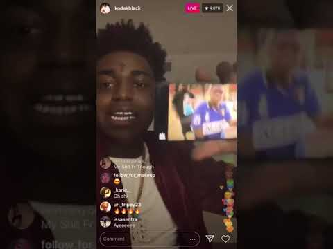 """Kodak Black Watching One Of His Old Videos Rapping Over That Meek Mill """"Heaven or Hell"""""""
