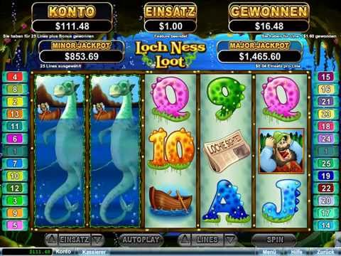 Loch Ness Loot Slot (RTG) - Freespins Feature - Big Win