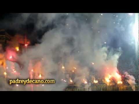 Recibimiento Hinchada de Peñarol vs Godoy Cruz - Copa Libertadores 2012 - Barra Amsterdam - Peñarol