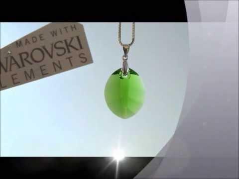 Anhänger mit Swarovski Element Pure Leaf Fern Green