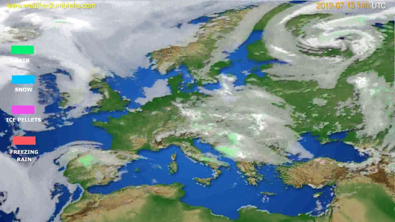 Precipitation forecast Europe // modelrun: 00h UTC 2019-07-11