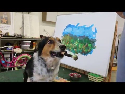 Genius Dog Paints a Landscape Painting
