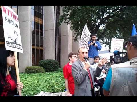 Carlos Montes speaks outside Alhambra court house on June 16