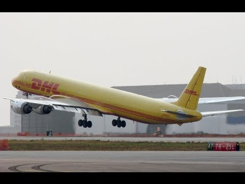 DC 8 - delivered in 1969... The highly polished CFM56-2C turbojet engines coupled with rich yellow and red colors make a strikingly beautiful sight as one of DHL's ...