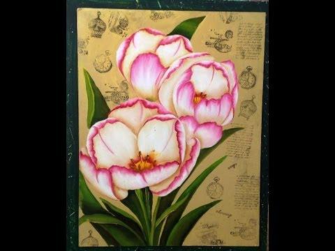 Como pintar  flores - Tecnica americana