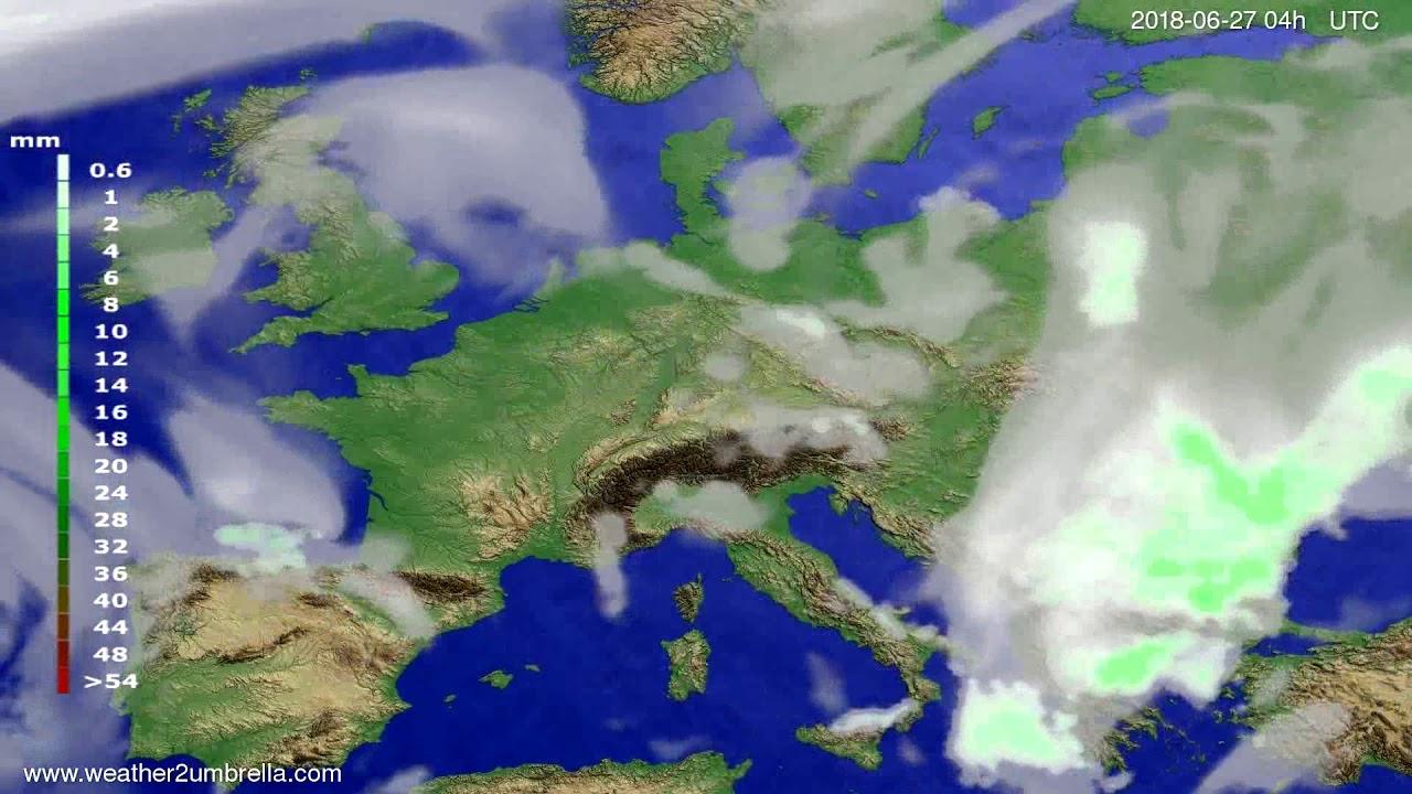 Precipitation forecast Europe 2018-06-23