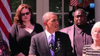 In the Rose Garden at the White House, President Obama delivers a statement to the press on the Affordable Care Act and the Government Shutdown.