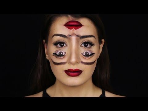 Nainen meikkaa itselleen kahdet kasvot