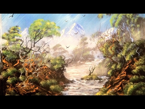 Spray - spray paint art by Robert Stevens spray painting nature mountains and river... sorry about the camera angle half way through i didnt know the camera moved bu...