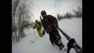 Супер фрирайд в Приисковом, сноуборд и горные лыжи.