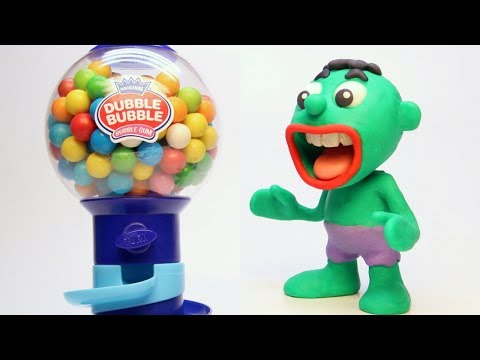 Baby Hulk gumball machine colors 💕 Superhero Play Doh Stop motion videos for kids