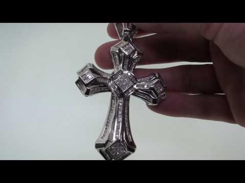 7.13 Carat Invisible Princess Cut Diamond Cross Pendant 2818-B