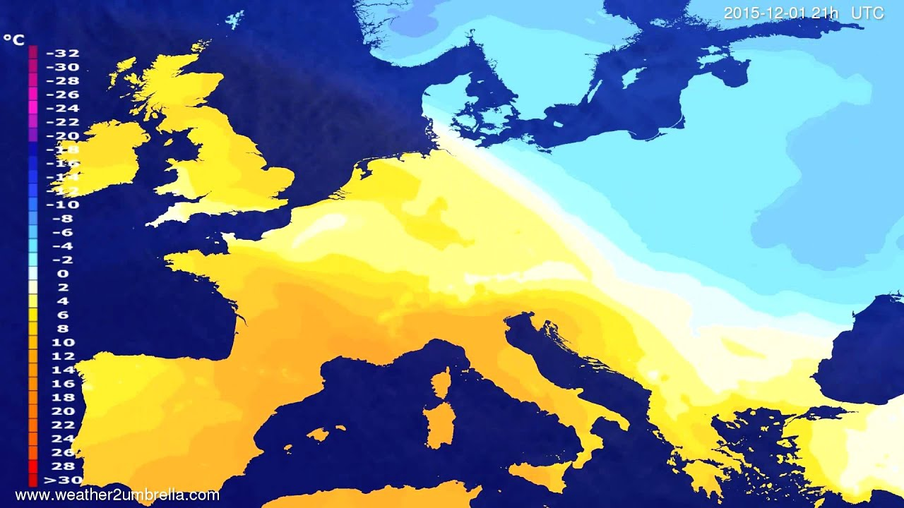 Temperature forecast Europe 2015-11-28