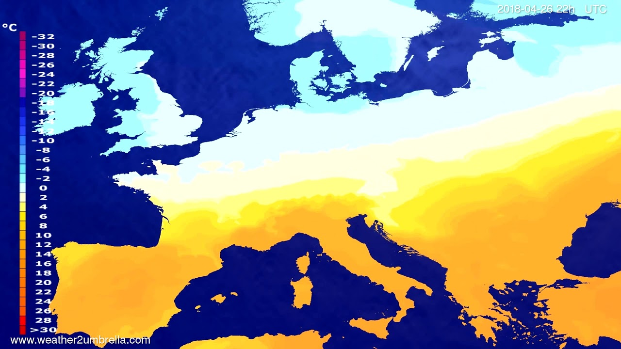 Temperature forecast Europe 2018-04-24