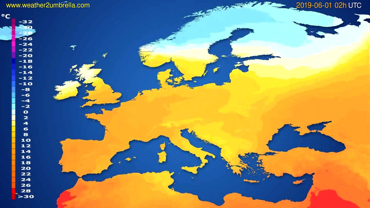 Temperature forecast Europe // modelrun: 00h UTC 2019-05-29