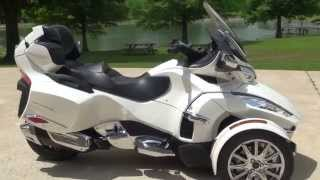 7. HD VIDEO 2014 CAN AM SPYDER RT LIMITED PEARL WHITE USED FOR SALE SEE WWW SUNSETMOTORS COM