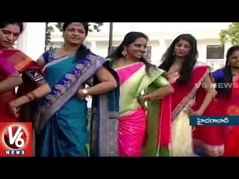MP Kavitha and Padma Devender Dance at Bathukamma Celebrations in Pragathi Bhavan