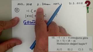 31 Mart 2018 tarihli Matematik 1 Sınavının Soru Çözümleri - Açık Lise