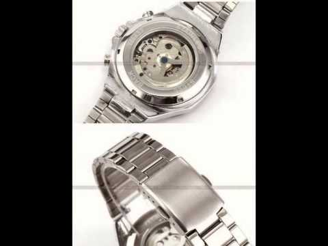 , title : 'Russian Skeleton Automatic Watches For Men Silver Stainless Steel Wrist Watch OS28'