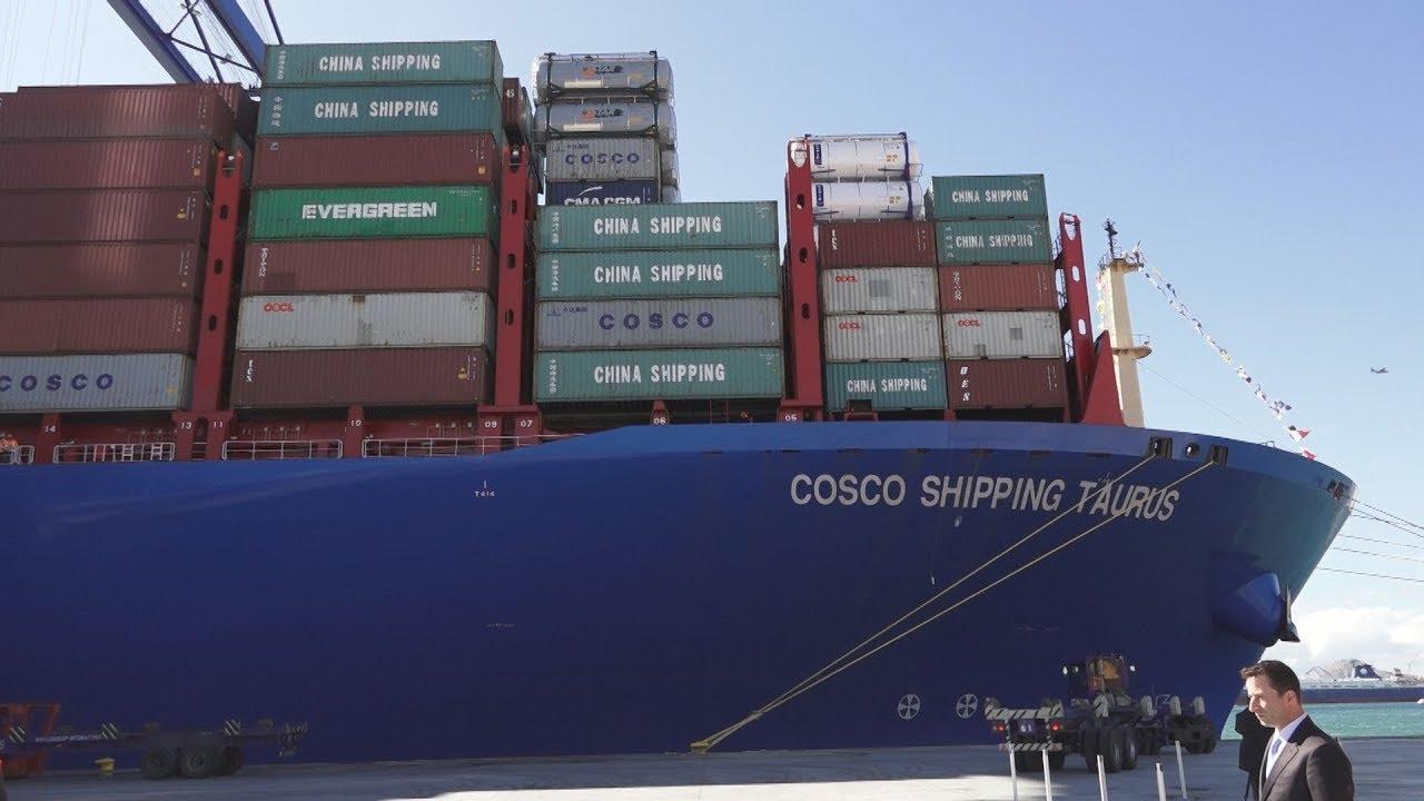 Το μεγαλύτερο πλοίο μεταφοράς εμπορευματοκιβωτίων της Κίνας στον Πειραιά