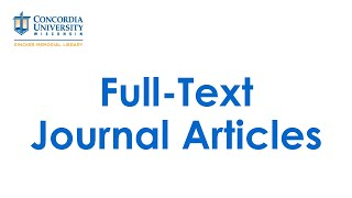 Full-Text Journal Articles