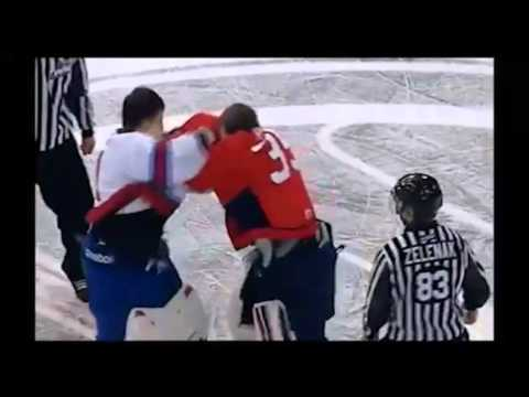 Centre Ice Netminder fight
