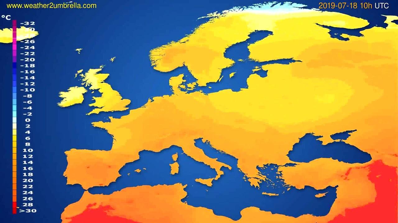 Temperature forecast Europe // modelrun: 12h UTC 2019-07-15