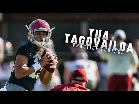 Watch Alabama QBs Tua Tagovailoa, Jalen Hurts, and Mac Jones run drills during spring practice
